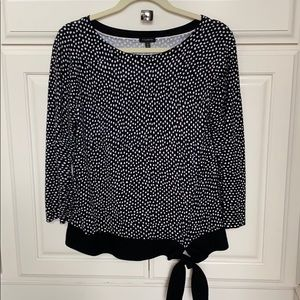 Talbots M blk/white polka dot sweater w tie at hip